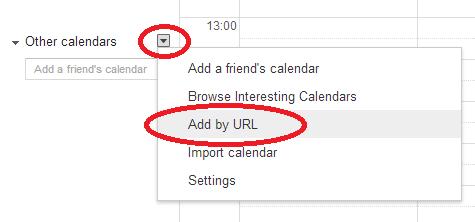 Snapshot of Google Calendar